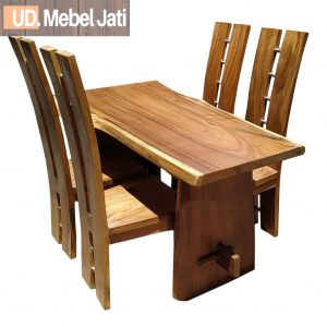 meja makan trembesi 4 kursi